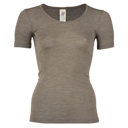 Damen-Shirt kurzarm Feinripp, walnuss